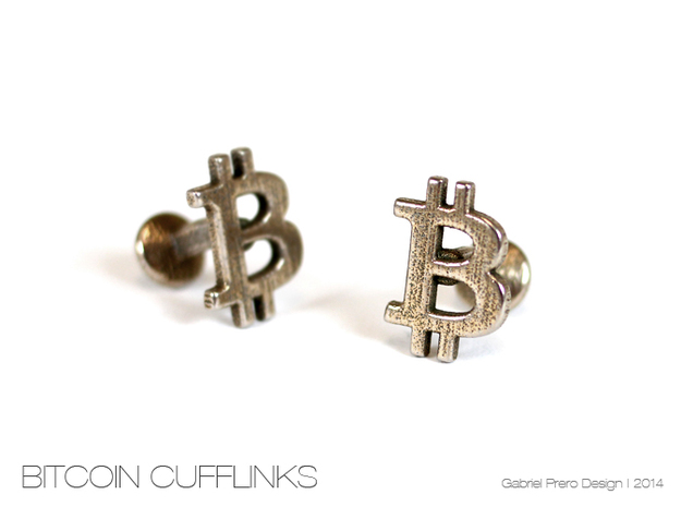 Bitcoin Cufflinks in Stainless Steel