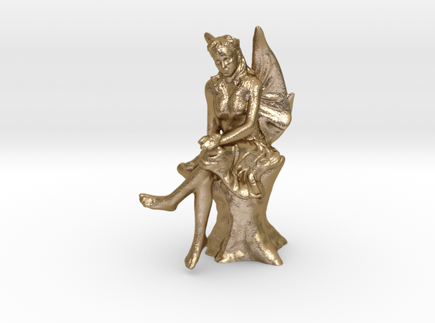 Fairy with ladybug  in Polished Gold Steel