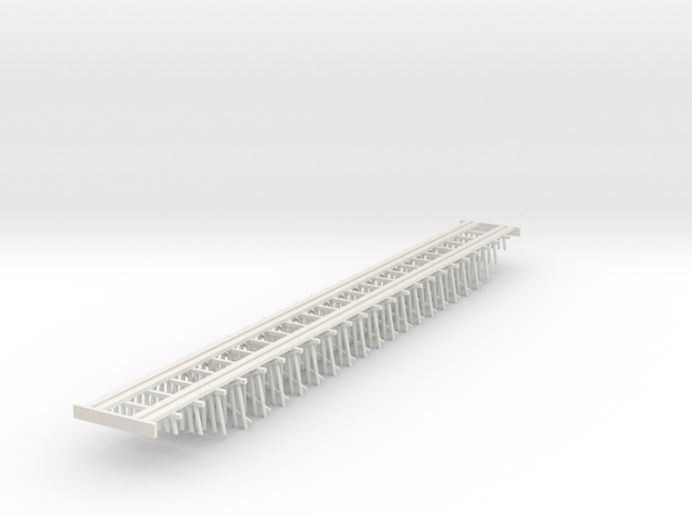 Double Track Trestle N (1:160) Ten Piles Bridge in White Natural Versatile Plastic