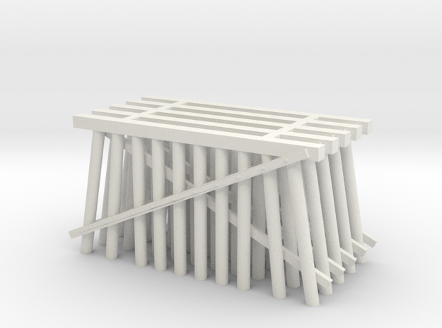 Double Track Trestle N (1:160) 5 Pack Ten Piles in White Natural Versatile Plastic