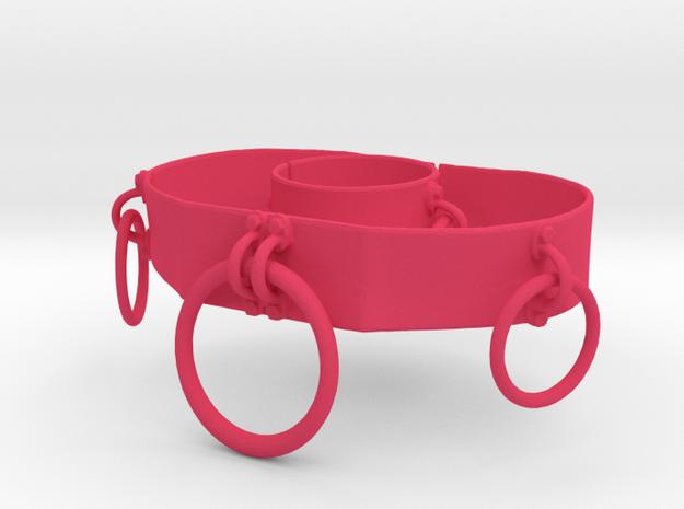 O Belt and O Bracelet Set in Pink Processed Versatile Plastic: Small
