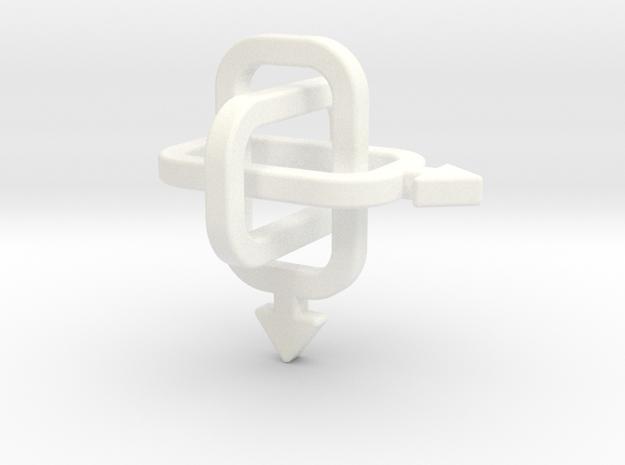 male/male Borromean rings in White Processed Versatile Plastic