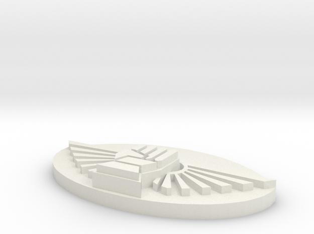 Winged fist Plaque in White Natural Versatile Plastic