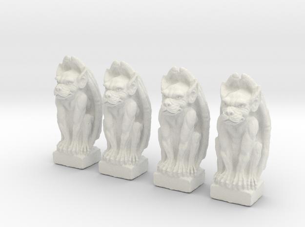 Gargoyles Set of 4.  25mm tall in White Natural Versatile Plastic
