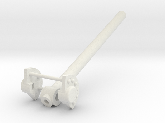 Katyusha Axle Cap and Elevation Tube 1:16 scale in White Natural Versatile Plastic
