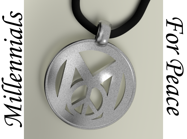 Millennial Peace Pendant (does not include cord) in Polished Bronzed Silver Steel