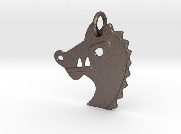 Dragon Emoi Pendant - Metal in Polished Bronzed-Silver Steel