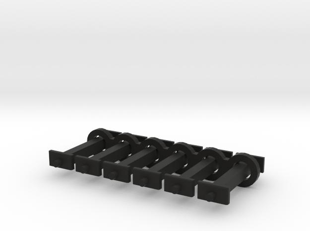 N Scale 12mm Fixed Coupling Drawbar x6 in Black Natural Versatile Plastic