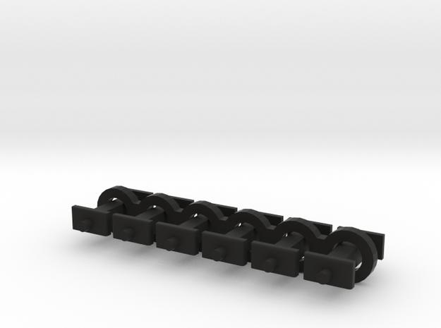 N Scale 6.5mm Fixed Coupling Drawbar x6 in Black Natural Versatile Plastic