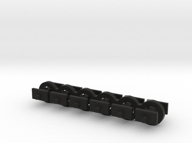 N Scale 5mm Fixed Coupling Drawbar x6 in Black Natural Versatile Plastic