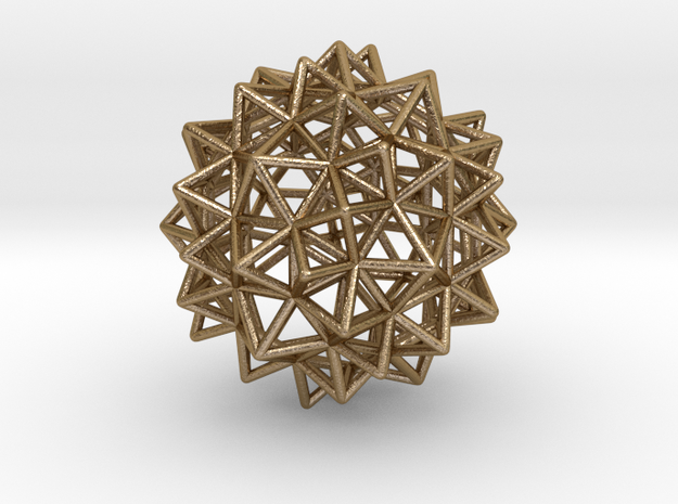 "Stellated Rhombicosidodecahedron 2"" in Polished Gold Steel"