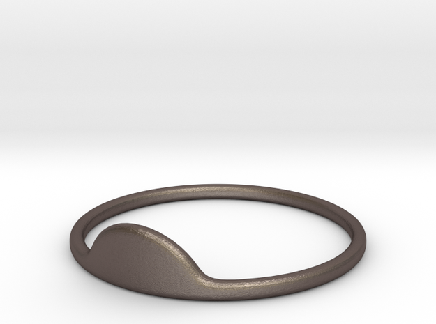 Half-Moon Ring in Polished Bronzed-Silver Steel