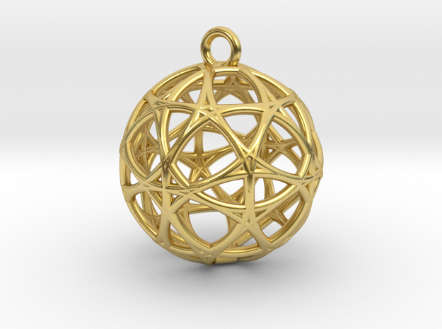 Earth 13D  Matter Alpha Pendant in Polished Brass
