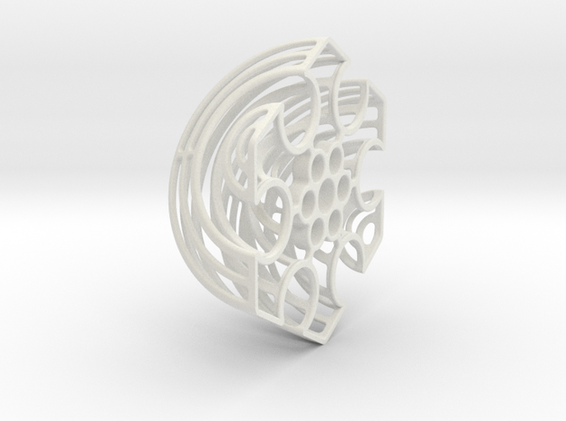 Wireframe Astrolabicon // Side B in White Natural Versatile Plastic
