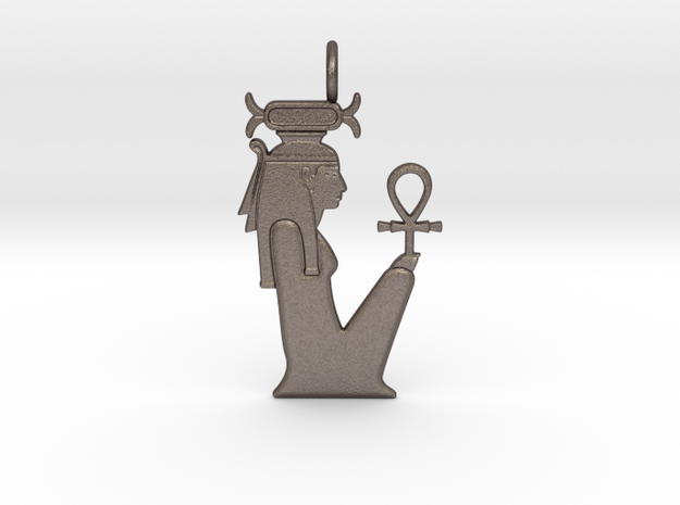 Neith / Nit amulet (four ladies version) in Polished Bronzed-Silver Steel