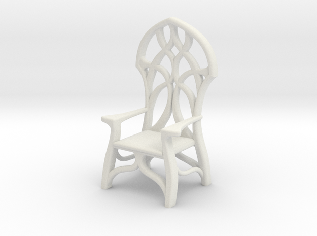Elven Chair for 1:24 scale settings in White Natural Versatile Plastic