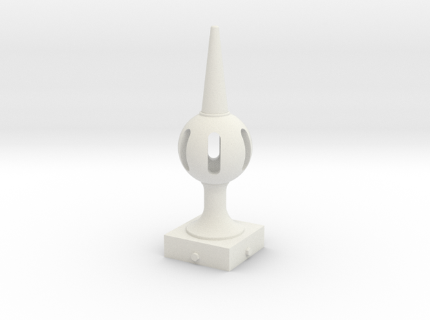 Signal Semaphore Finial (Pierced Ball) 1:19 scale in White Natural Versatile Plastic