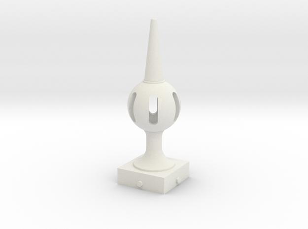 Signal Semaphore Finial (Pierced Ball) 1:19 scale in White Natural Versatile Plastic