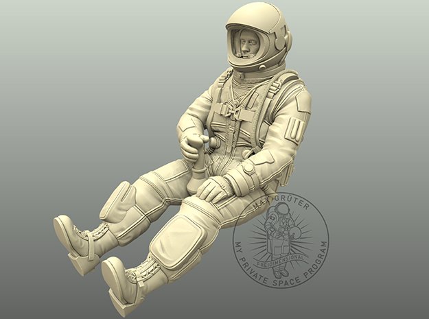SR-71-Pilot seated 1:18 in White Natural Versatile Plastic