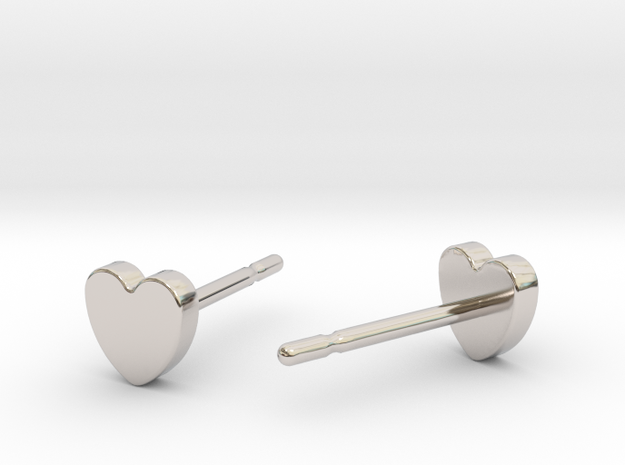 Heart studs in Rhodium Plated Brass