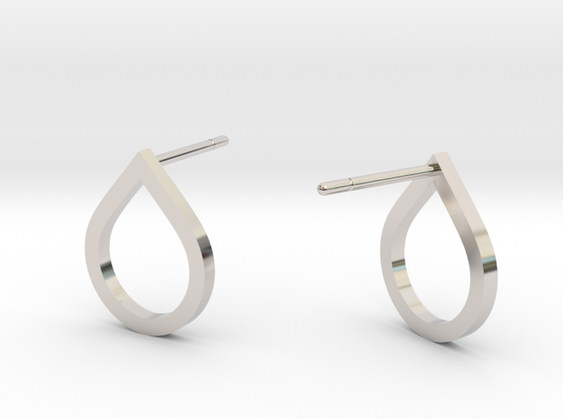 Tear Drop Post Earrings in Rhodium Plated Brass