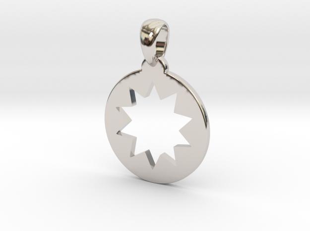 Power Star Cutout Pendant in Rhodium Plated Brass