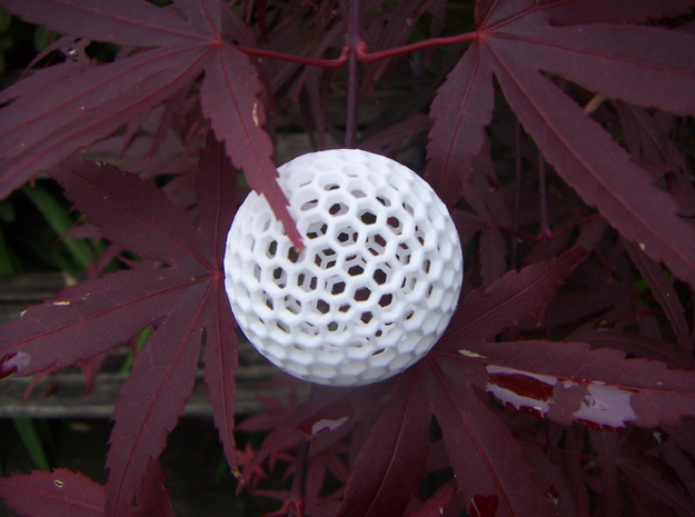 Dual Geodesic Icosahedron 11 in White Natural Versatile Plastic