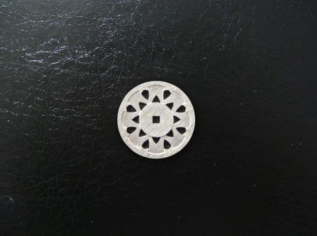 Round Pendant - Suspended Coin in Natural Silver