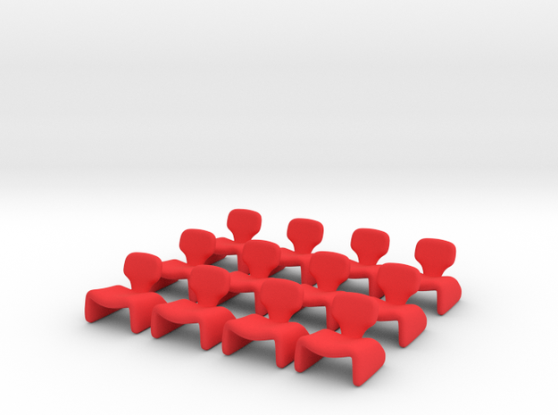 12 Tiny Djinn Chairs in Red Processed Versatile Plastic