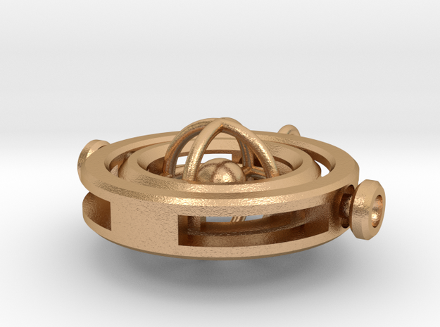 Gyroscopic Pendant in Natural Bronze (Interlocking Parts)
