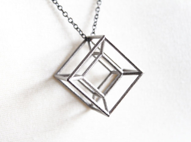 Hypercube Pendant in Polished Nickel Steel