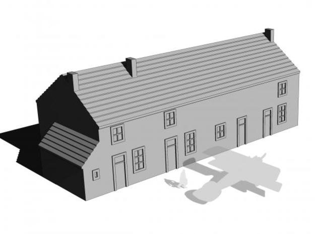 1/350 Village House 2 in White Natural Versatile Plastic