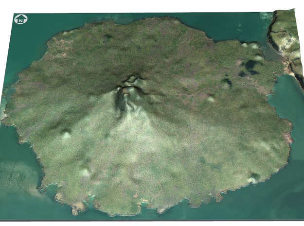 Rangitoto Island Map in Matte Full Color Sandstone