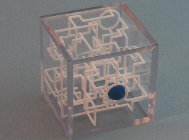 """Bare Bones"" - 3D Rolling Ball Maze in Clear Case( 3d printed X marks the Spot"