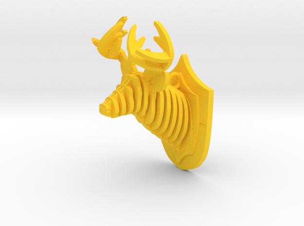 Deer head in Yellow Processed Versatile Plastic