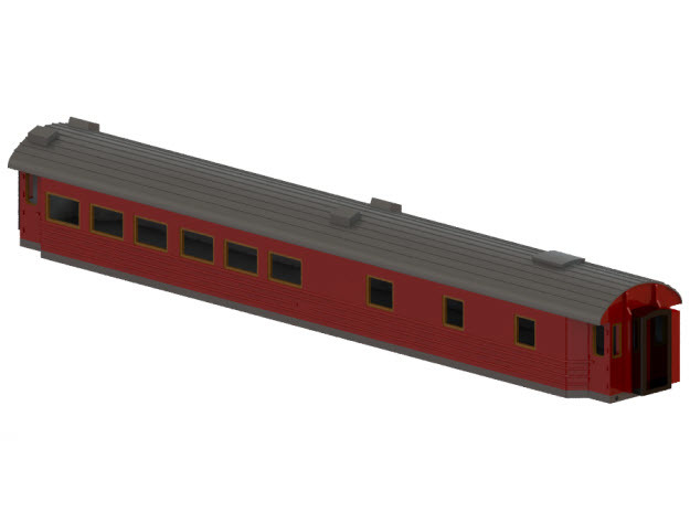Ro3 version 2 - Swedish passenger wagon in Smooth Fine Detail Plastic