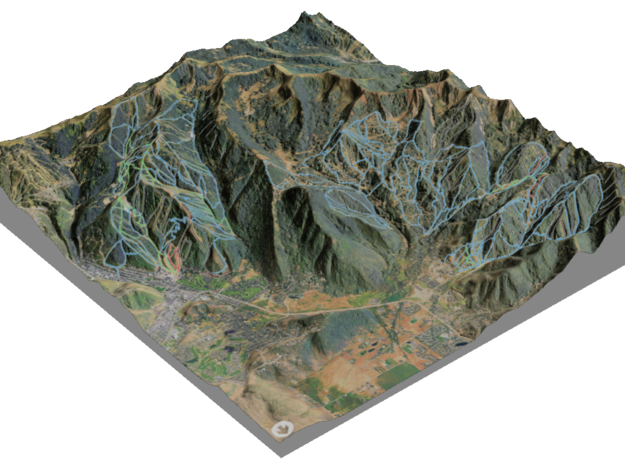 Park City Ski Map, Utah - Hillshade in Glossy Full Color Sandstone