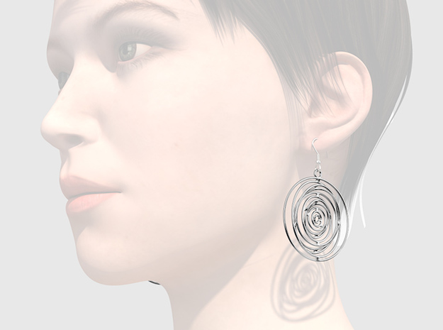 Whirlpool earrings in Polished Silver