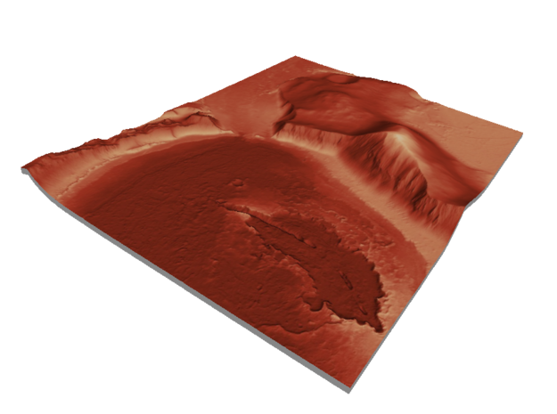Mars Map: Lava Vent - Red in Matte Full Color Sandstone
