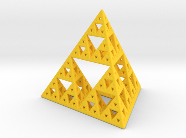 Sierpinski Tetrahedron in Yellow Processed Versatile Plastic: Small