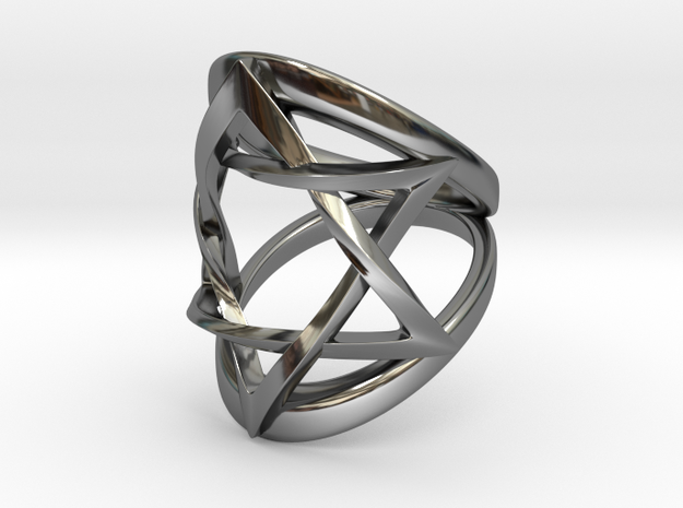 Ring Magen David Size 6 in Fine Detail Polished Silver