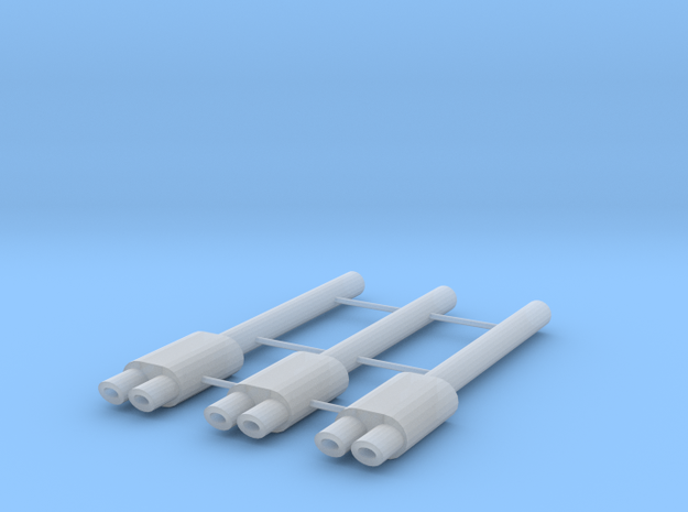 1/64 Scale Exhaust with Dual Oval Tips - Oval 1mm  in Smoothest Fine Detail Plastic