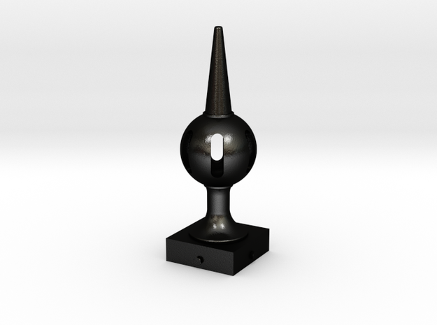 Signal Finial (Pierced Ball) 1:6 scale in Matte Black Steel