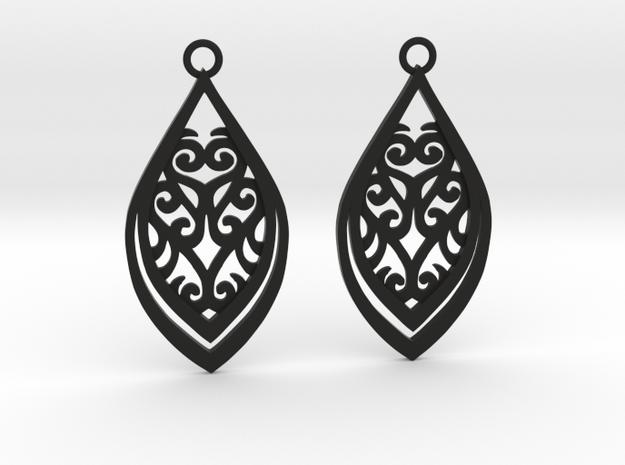 Nessa earrings in Black Natural Versatile Plastic: Small