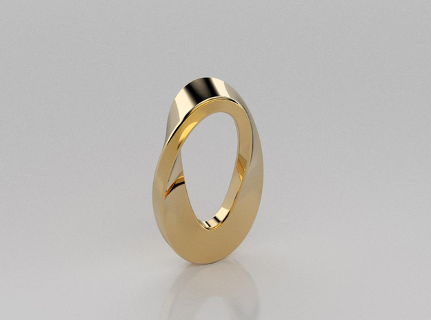 Mobius curve pendant in 14K Yellow Gold
