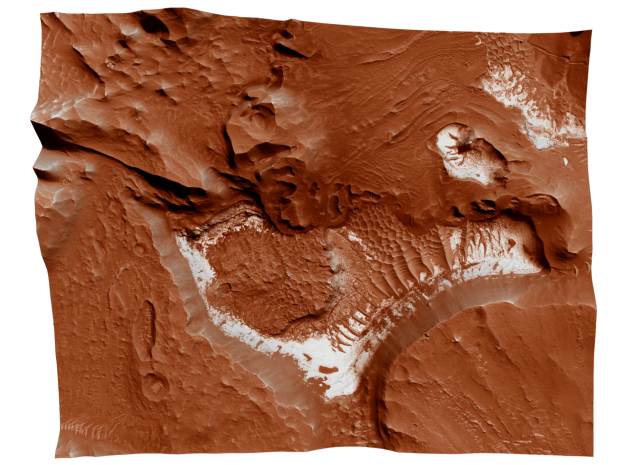 Mars Map: Light Outcrops in Red in Matte Full Color Sandstone