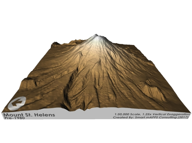 Mount St. Helens Pre-1980 Map: Sepia Relief in Matte Full Color Sandstone