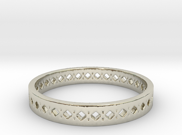 Diamonds Punches Band in 14k White Gold: 10 / 61.5