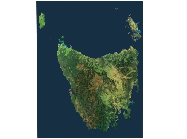 Tasmania Map, Australia in Matte Full Color Sandstone