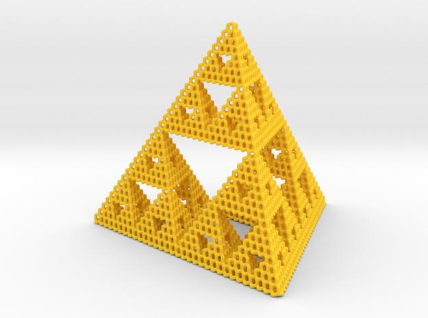 Diamond Sierpinski Tetrahedron in Yellow Processed Versatile Plastic: Small